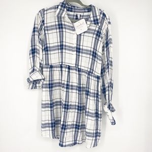Isabel Maternity Plaid Mid Button top